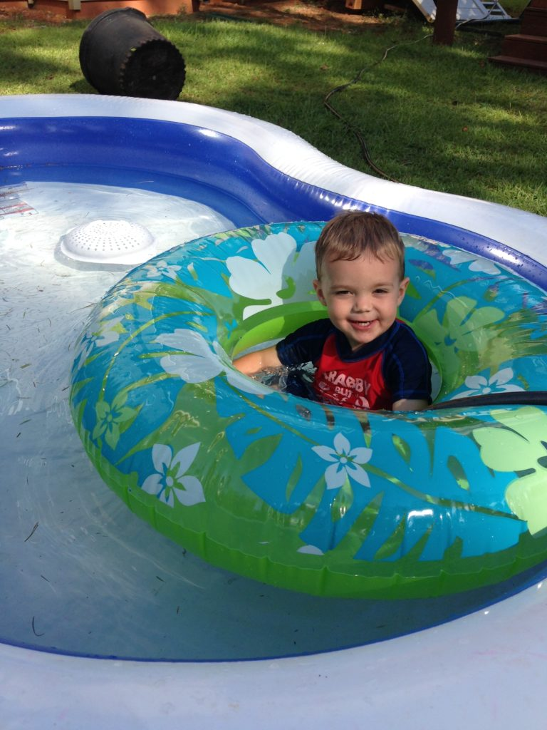 Levi in pool